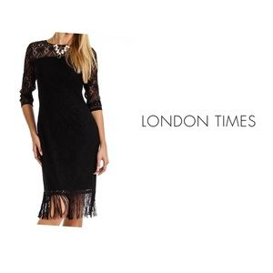 London Times Lace Long Sleeve Fringe Hem Dress